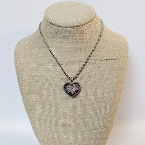Brighton Red Heart w/Silver Scroll Work Necklace